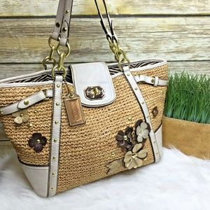Coach Natalie Beige Straw Leather Floral Trim Tote